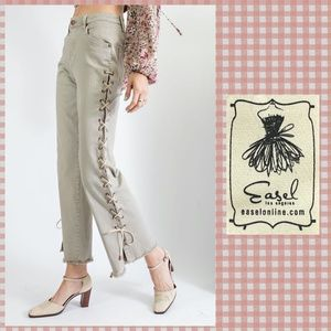 Easel Lace Up Side Legs Washed Taupe Denim Pants